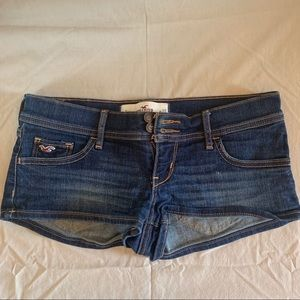 Hollister dark wash low rise denim shorts